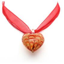 Muránói üveg medál szív alakú csikos- piros