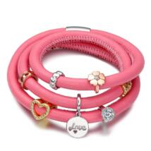 Umode valódi bőr karkötő 3 soros - rózsaszín, 7 darab charmmal