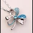 Lótuszvirág- kék- Swarovski kristályos nyaklánc