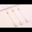 Giant pearl -  fehér kristályos nyaklánc - ezüst
