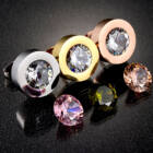 Cserélhető köves, karpereces nemesacél ékszerszett fülbevalóval, AJÁNDÉK 4 készlet, különböző színű cirkóniakővel - rózsaarany