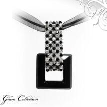 5 kősoros organza szalagos nyakék- kocka formájú- Swarovski kristályos - Medál