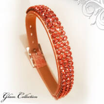 3 kősoros bőr karkötő- Rose Peach - Swarovski kristályos