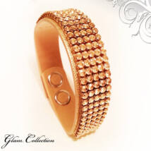 5 kősoros bőr karkötő- Golden Shadow - Swarovski kristályos