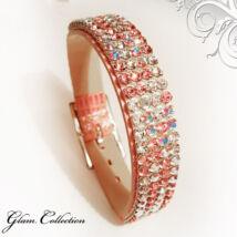 4 kősoros bőr karkötő- Light Rose mosaic - Swarovski kristályos