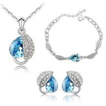 Levél és csepp ékszerszett  - kék- Swarovski kristályos