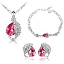 Levél és csepp  - rózsaszín- Swarovski kristályos