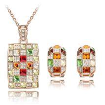 Mozaik ékszerszett - arany -piros-borostyán-zöld - Swarovski kristályos
