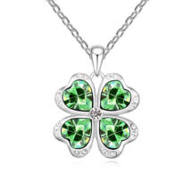 Szerencseszívek - zöld-Swarovski kristályos nyaklánc