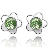Apró virágok - zöld - Swarovski kristályos - Fülbevaló