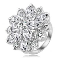 Jégvirág -  divatgyűrű - fehér