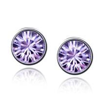 Keretes kristály fülbevaló-halvány lila- Swarovski kristályos