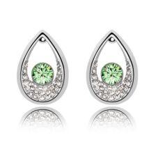 Drop fülbevaló - világos zöld, Swarovski kristályos