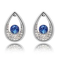 Drop fülbevaló -királykék, Swarovski kristályos