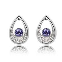 Drop fülbevaló - lila, Swarovski kristályos
