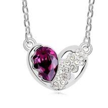 Törött szív - lilásbordó- Swarovski kristályos nyaklánc