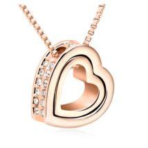 Szív a szívben- arany - Swarovski kristályos nyaklánc - fehér