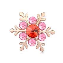 Hópehely - Swarovski kristályos bross - rózsaszín