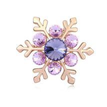 Hópehely - Swarovski kristályos bross - lila