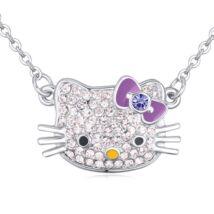 Hello Kitty - lila- Swarovski kristályos - Nyaklánc