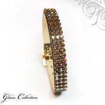 3 kősoros bőr karkötő- Bronze Shade - Swarovski kristályos