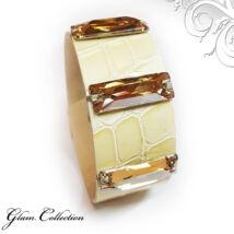 Varrott köves bőr karkötő- Golden Shadow- Swarovski kristályos - borostyán