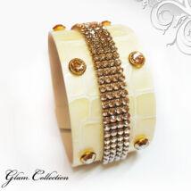 4 kősoros bőr karkötő- Golden Shadow - Swarovski kristályos - borostyán