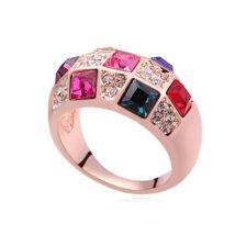 Mozaik- Swarovski kristályos gyűrű-színes