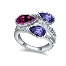 Cseppek-bordó-lila-Swarovski kristályos - Gyűrű