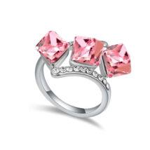 Kockák-rózsaszín-Swarovski kristályos - Gyűrű