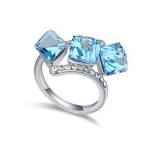 Kockák-kék-Swarovski kristályos - Gyűrű