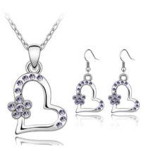 Floral heart - Swarovski kristályos ékszerszett- lila