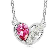 Törött szív - rózsaszín- Swarovski kristályos nyaklánc