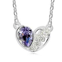 Törött szív - lila- Swarovski kristályos nyaklánc