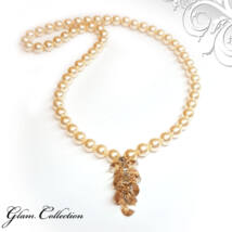 Swarovski gyöngy nyaklánc -Light gold