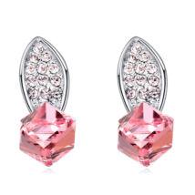 Csillogó kocka- rózsaszín- Swarovski kristályos - Fülbevaló
