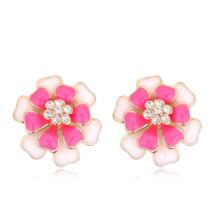 Dupla szirmú virág- rózsaszín-Swarovski kristályos - Fülbevaló