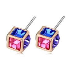 Bűvös kocka- színes- Swarovski kristályos - Fülbevaló