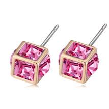 Bűvös kocka- rózsaszín- Swarovski kristályos - Fülbevaló