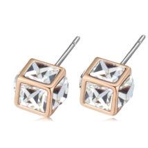 Bűvös kocka- fehér- Swarovski kristályos - Fülbevaló