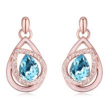 Döntött csepp  - Swarovski kristályos - Fülbevaló- kék
