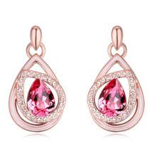 Döntött csepp  - Swarovski kristályos - Fülbevaló- rózsaszín