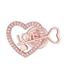 Heart's key- Swarovski kristályos kitűző - rózsaarany