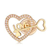 Heart's key- Swarovski kristályos kitűző - arany