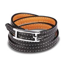 Fibbia - uniszex acél karkötő - fekete