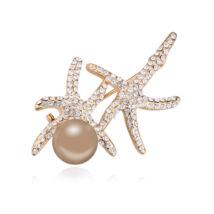 Korall bross - Swarovski kristályos - krém-arany