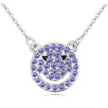 Smiling bear- Swarovski kristályos nyaklánc- lila