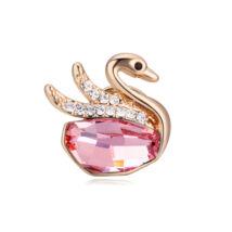 Kishattyú- Swarovski kristályos bross - rózsaszín