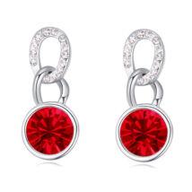 Körök függő - piros - Swarovski kristályos fülbevaló