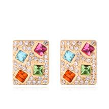 Kristályos négyzet -színes- Swarovski kristályos fülbevaló